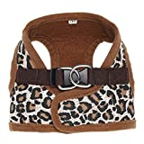 CricTeQleap Mode Weiches Hundegeschirr-Maschen-Gewebe gepolsterte Haustier-Kleine Welpen-Katzen-Schnallen-gehende Weste Leopard XS