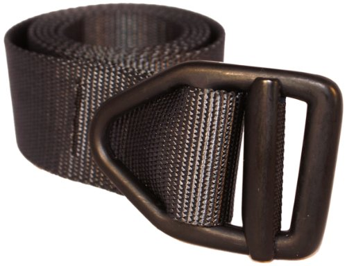 Bison Designs 38 mm letzte Chance Light Duty Nylon Web Belt W/V-Ring Buckle L  - Graphite w/ Black Buckle - Gürtelschnalle Firefighter