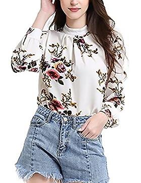 Camicia Donna Chiffon Blusa Elegante Primavera Autunno Manica Lunga Camicie Vintage Stampati Floreale Top Rotondo...