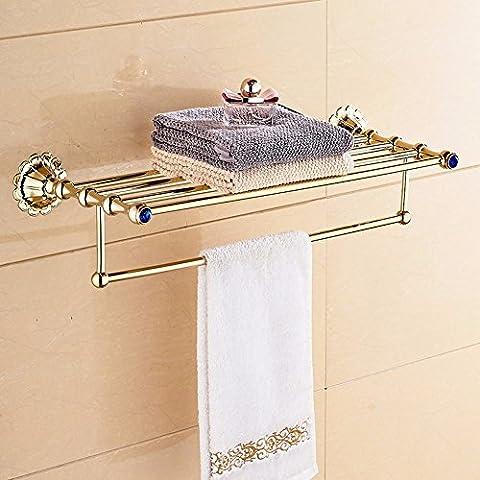 KHSKX Antico in stile Europeo di Golden portasalviette bagno Asciugamani da bagno accessori hardware placcato oro a piegatura per rack