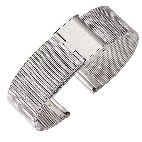 Milanese 18 20 22 mm Edelstahl Armband, Uhrenarmband, Metallarmband für Herren / Damen uhren. Breite Ersatzarmband Edelstahl Uhrenarmband – Schwarz und Silber