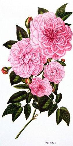 Fleurs et de pivoine faux tatouages étanches de couleur
