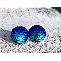 Ohrringe Silber Mermaid Blau Türkis rund Schuppen Meerjungfrau Accessoires NEU