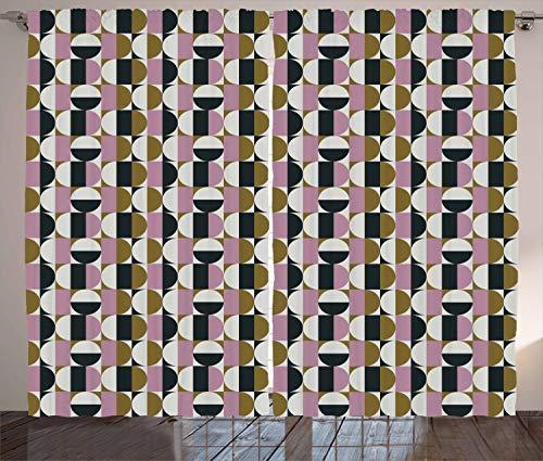 ABAKUHAUS Retro Rustikaler Gardine, Bauhaus geometrisches Muster, Schlafzimmer Kräuselband Vorhang mit Schlaufen und Haken, 280 x 245 cm, Mehrfarbig