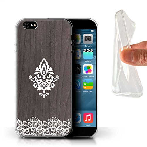 Stuff4 Gel TPU Hülle / Case für Apple iPhone 4/4S / Henna Muster / Fein Spitzenborte Holz Kollektion Zart Damast