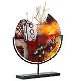 GILDE GLAS art Vase Amber Sundown - Dekovase und Kunstwerk handgefertigt aus buntem Glas mit schwarzem Metallhalter Höhe 37 cm Breite 32 cm 39374