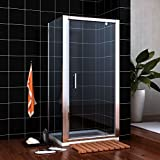 900 x 900 mm Pivot Hinge Shower Enclosure 6mm Safety Glass Shower Screen Reversible Cubicle Door with Side Panel Set