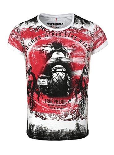 True Prodigy Herren T-Shirt TOULOUSE Vintage Print Naughty Girl Motorrad Skelett Skull Totenkopf Ziernaht Länger geschnitten Rot