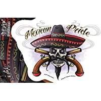 "Eric Lovino - Mexican Pride Fierce Skull Sombrero Crossed Smoking Pistols - 6"" x 4"" decalcomania Sticker Decal - Weather Resistant, Long Lasting for Any Surface"