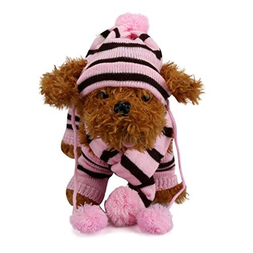 Vovotrade Charme Dog Pet Cappello cucciolo sciarpa scaldino del piedino animale domestico copre 6PC / Set (Rosa, M)