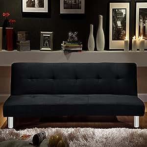 Bagno Italia Divano Letto 3 posti Microfibra Nero Stile Moderno recrinabile da Soggiorno divani Design Modello Veronica