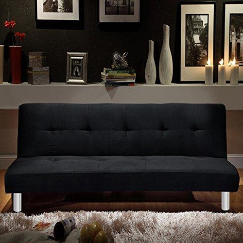Bagno italia divano letto 3 posti microfibra nero stile moderno recrinabile da soggiorno divani design