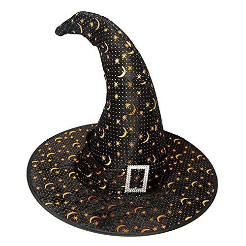 Cappello da strega,beetest® halloween stregoni streghe hat cappella per bambini,reticolo della luna cappelli cap per costume accessorio (oro)