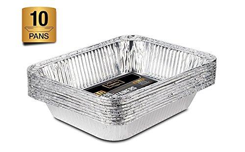 Lot de 10grandes barquettes jetables en aluminium 32 x 26cm format GN 1/2 - Pour cuire, rôtir, griller, préparer, conserver, etc