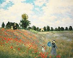 Idea Regalo - Legendarte P-182 Quadro di Claude Monet - Campo di Papaveri, Stampa digitale su tela, Multicolore, cm. 80 x 100
