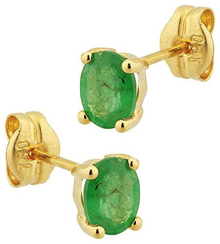 Orleo - REF9766 : Boucles d'oreille Femme Or 18K jaune et Emeraude