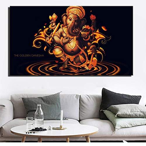 Knncch Goldene Ganesha Wand Poster Und Drucke Lord Hindu Gott Hd Print Home Decor Bilder Hinduismus Leinwand Malerei Für Wohnzimmer-30X40Cm