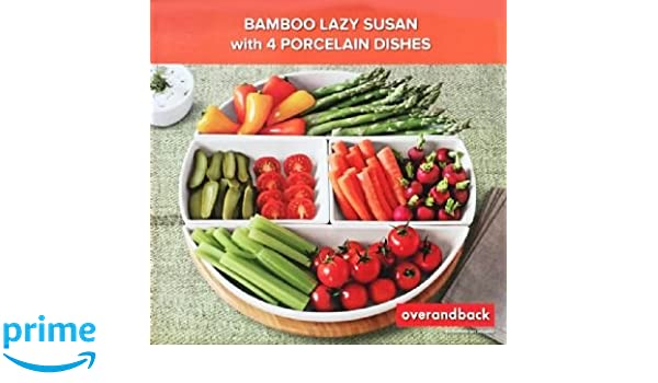 over u0026 back bamboo lazy susan with 4 porcelain dishes amazoncouk kitchen u0026 home