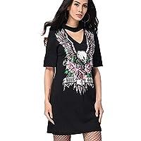 Las mujeres que cuelgan el cuello con cuello en V suelto rectos camiseta de impresión vestido cómodos personalidad Totem vestido corto vestido de lápiz Eu ...