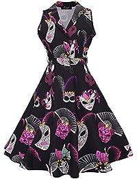 Feoya - Vestido Vintage Rockabilly Años 50 Retro Cóctel Fiesta Vestido con Cinturón Pin-up Rockabilly Dress para Mujer