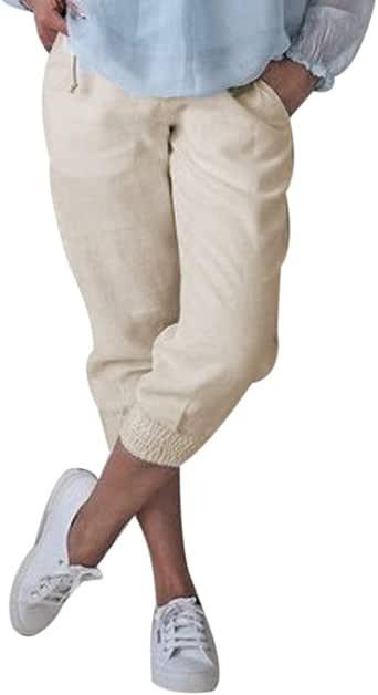 Shujin Damen Baumwolle Leinen Capri Hose Sommer Leicht 34 Länge Kurze Baggyhose Chino Hose Lässig Einfarbig Strandshorts Stoffhose Freizeithose