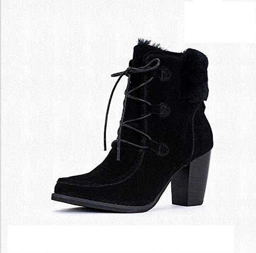 Stivali da donna di 'High - tacco basso tubo bestiame in pelle scrub sottolineato top stivali black