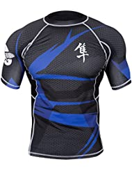 """'Hayabusa Rashguard """"metaru, BJJ MMA Compression–Black/Blue–Fonction manches courtes pour T-shirt, fonctionnel pour homme"""