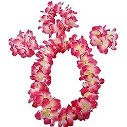 Vertvie Hawaii-Blumen-Set hawaiianischen Hula-Kostüm-Tanz-Kostüm für Kinder (One Size, Rosa)