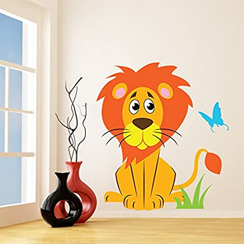 (89x100 cm) Vinyl Wall Kids Decal Lion with Butterfly / Art Home Baby Animal Tiger Decor Sticker / Child Kids Room Decoration + Free Random Decal Gift!