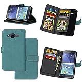 KANTAS 9 Karten Brieftasche Flip Case für Samsung Galaxy J5 2015 Blau PU Leder Handyhülle Case Matt Oberfläche Taschenhülle Wallet Ledertasche mit Magnetverschluss Standfunktion Geldbeutel Schutzhülle für Samsung Galaxy J5