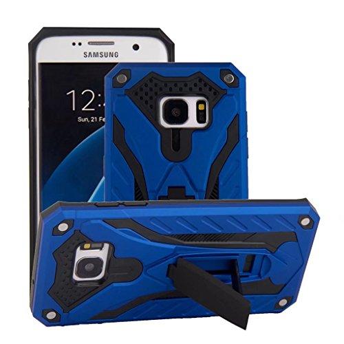 Galleria fotografica Cover Samsung Galaxy S7 Edge, MUTOUREN [Solida, Robusta et Rigida] Cover Kickstand Silicone e PC, Custodia Paraurti Rugged resistente adatta per Samsung Galaxy S7 Edge - blu