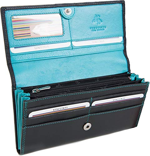 Visconti Grand femmes portefeuille en cuir souple noir & Stye CD21 Aqua