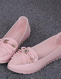 ZQ YYZ Zapatos de mujer-Tac¨®n Plano-Comfort-Planos-Exterior / Casual-Semicuero-Azul / Rosa / Blanco , pink-us8...