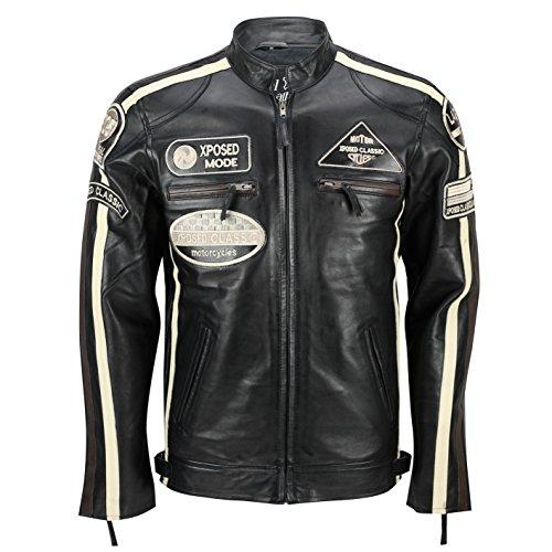Weiches Echtleder Biker Racing Herren Jacke Urban Retro Vintage Look in 3 Farben Schwarz - Schwarz