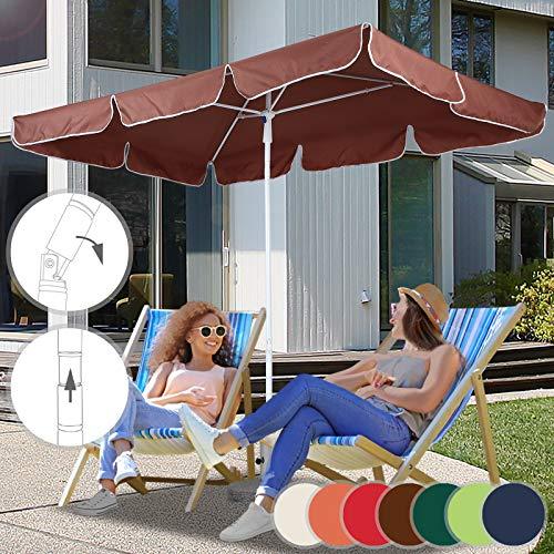 Ombrellone rettangolare - 180 x 120cm, altezza regolabile, inclinabile, protezione uv 30+, palo centrale, poliestere, colore a scelta - ombrellone da giardino, da spiaggia, terrazzo,balcone