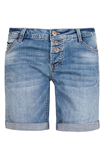 Sublevel Damen Jeans Bermuda-Shorts mit Denim Aufschlag Light-Blue S
