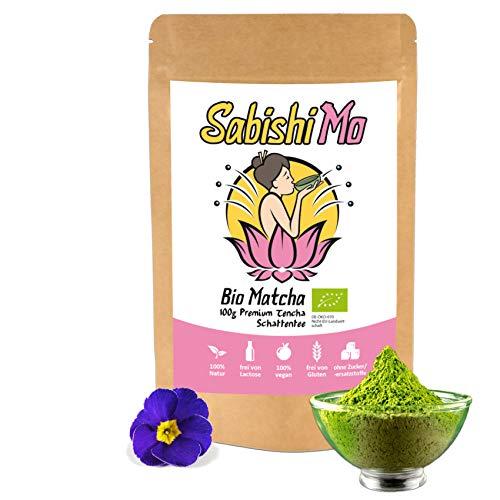 SABISHI MO - Matcha Tee Pulver Bio | 100g Grüner Tee Matcha in Rohkost Qualität für Matcha-Latte, zum Abnehmen, Smoothies, Cooking, im wiederverschließbaren Beutel