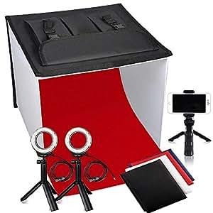 FOSITAN Studio Photo Boîte de Lumière 40x40x40cm(16'') Tente de Photographie Pliable de Dessus de Table (2 X 7 W à tête annulaire à LED, 3 trépieds, 4X Fonds) pour Photographie du Produit