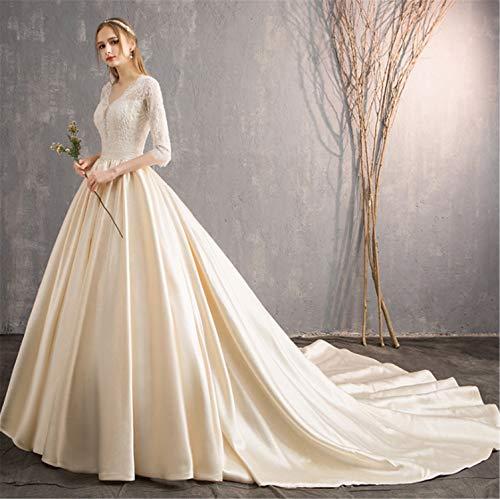 ELEGENCE-Z Brautkleid,Damen Prinzessin Rückenfreies Stilvolles Brautkleid Mit Ärmeln Perfekte Linie Große Lange Schleppend Weiß Und Champagner - ärmeln Brautkleider