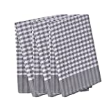 Classic Tea Towels,100% Cotton,Waffle Weave,Vintage Design,Can Be Used As Tea Towels/Dish Towels/Kitchen Towels,3 Pack In Large Size 45x65cm (Grid Grey)