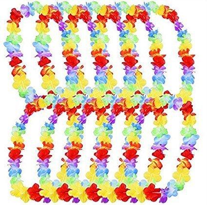 HAKACC Hawaiian Colorful Luau Silk Flower Leis Necklaces Floral Petal Leis Luau Style 10 Counts