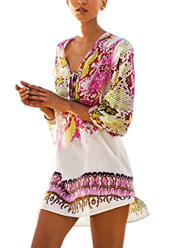 Hikong copricostume mare donna chiffon stampato floreale camicetta kimono costume da bagno top bohemian vestito per bikini spiaggia beachwear