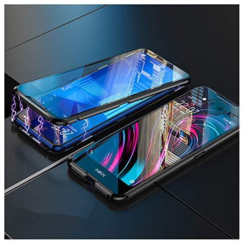 DoubTech Hülle Vivo NEX 2 Dual Display Magnetische Adsorption Tech Handyhülle Vorne Hinten Gehärtetes Glas Unibody Design Starke Magnete Eingebaut Aluminium Rahmen Stoßfest Metall Flip Cover