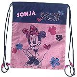 Turnbeutel mit Namen | inkl. NAMENSDRUCK | Motiv Minnie Maus | Personalisieren & Bedrucken | Schuhbeutel Mädchen rosa dunkel-blau | Rucksack für Kinder zum Zuziehen