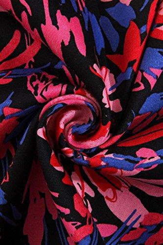 Damen Vintage 1/2 Arm Rockabilly Kleid Abendkleid Swing Festliches Cocktailkleid geblümt Knielang Farbe 2