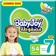 BabyJoy Compressed Diamond Pad, Size 7, 3XL, 18+ kg, Jumbo Box, 54 Diapers