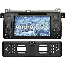 YINUO 7 Pulgadas 1 Din Android 7.1.1 Nougat 2GB RAM Quad Core Pantalla Táctil GPS Navegador Multimedia Reproductor De DVD/Radio De Coche con Bluetooth Para BMW 3 Series Con Cámara Marcha Atrás