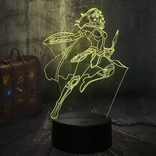 Super Hero Nachtlicht Cool Wonder Woman 3D LED RGB 7 Farbwechsel Tischlampe Kind Kinder Weihnachten Neujahr Geschenk Home Decro - Womens Affe