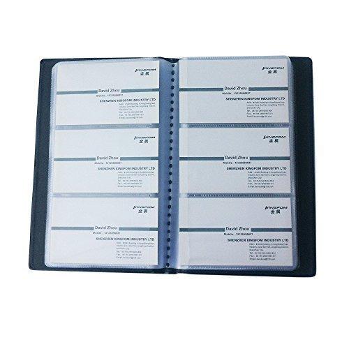 KINGFOM™ Leder Visitenkarten-Mappe für 120/240/300 Karten,schwarz (240 Karten)