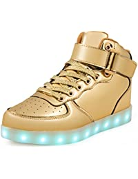 SAGUARO 7 Colors USB Charging LED Lighted Luminous Couple Casual Sport Shoes High Top Sneakers for Unisex Men Women